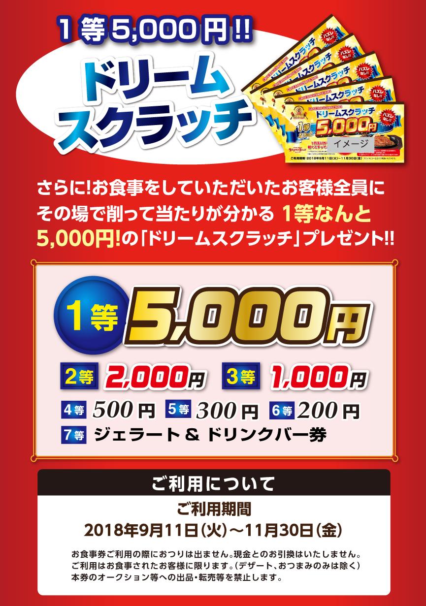 2018「お客様大感謝祭」お食事代全品20%OFF!